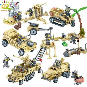 HUIQIBAO TOYS Army WW2 Vehicle Motorcycle Soldier Weapons Building Blocks For Children Compatible Legoed Military Trucks Bricks