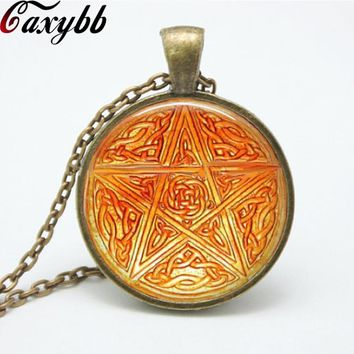 1 pcs bron Pentagram Wicca Pendant Necklace charms Wiccan Jewelry Occult personality necklaces pendants FTC-N152