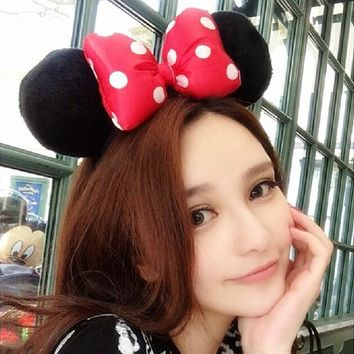 Red Bow Adult Fluffy Mouse Ears Headband