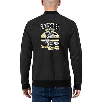 Vintage Retro Streetwear Bomber Jackets for Men Flying Fish Community