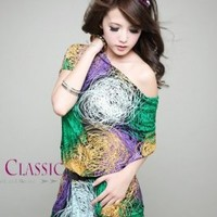 Wholesale Korean Style One-shoulder With Belt Dress Green