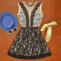 Hot Sale Women's Fashion Sleeveless Round-neck Hollow Out Lace Patchwork One Piece Dress [11545797775]