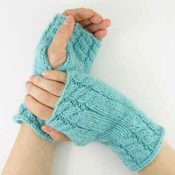 knit arm warmers cable knit  fingerless gloves knit mittens gauntlets aqua pastel blue alpaca mix