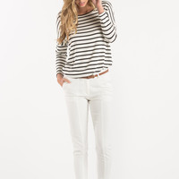 Loraine White Belted Ankle Pants