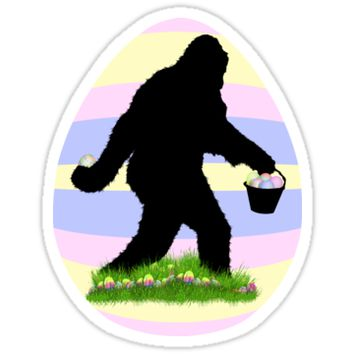 'Gone Easter Squatchin with Pastel Background' Sticker by Gravityx9