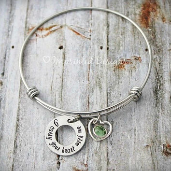 Alex Ani Bracelet Style Bracelet - I Carry Your Heart With Me - Birthstone - Couples Jewelry - Best Friends - Adjustable Bangle