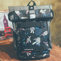Astronauts Striped Prined Canvas Large ADIDAS Backpack College School Bag Travel Bag Daypack