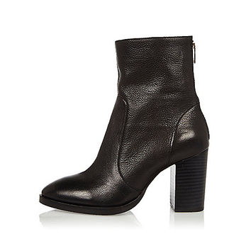Black textured heeled ankle boots - boots - shoes / boots - women