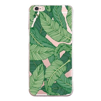 Green Leaves Printed Case Cover for iPhone 6 7 7 Plus