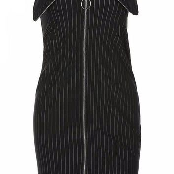 Strapless Pinstripe Zip Down Mini Dress