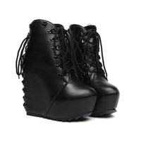 Black Thick Bottom Lace-up Ankle Boots,Cheap in Wendybox.com