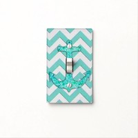 Shimmering Aqua Anchor Chevron Light Switch
