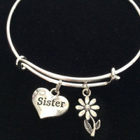 Sister Heart Charm Bracelet Silver Adjustable Expandable Bangle Trendy Handmade Trendy Family Stacking