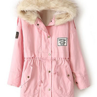 ROMWE | Drawstring Hooded Long Sleeves Pink Coat, The Latest Street Fashion
