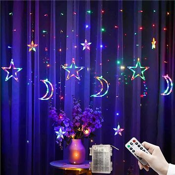 3.5M LED Star Moon Curtain Lights Christmas Garlands String Fairy Lights 220V Outdoor For Wedding Holiday Party New Year Decor