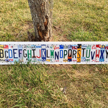 Alphabet Custom License Recycled Plate Sign Art Kid's Room Classroom Decor