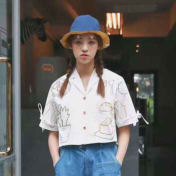 Vegetable Embroidery Shirt [8069798279]