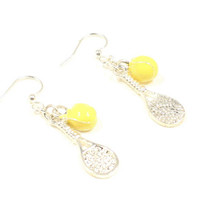 Tennis Earrings Tennis Racquet Earring Tennis Ball Earrings Love to Play Tennis Gift Tennis Instructor Gift Sports Jewelry Tennis JewelryE14