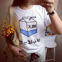 Women Summer Harajuku Cute Soft Milk Print Loose T-Shirts Basic Tee Tops