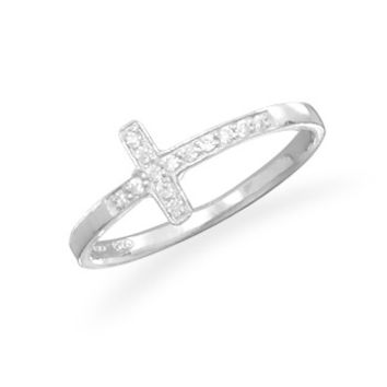 Sterling Silver and CZ Cross Ring
