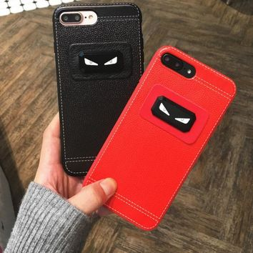 Popular logo cortical little monster personality apple 8/ iphone 6/7plus mobile phone case couple cortical soft shell