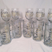 12 Bridal party gifts personalized wedding wine glasses and beer mugs bridesmaid and groomsmen gifts gold and black