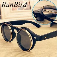 Steampunk Goth Goggles Retro Flip Up Round Sun Glasses