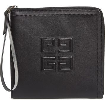 Givenchy Emblem Square Lambskin Leather Clutch | Nordstrom