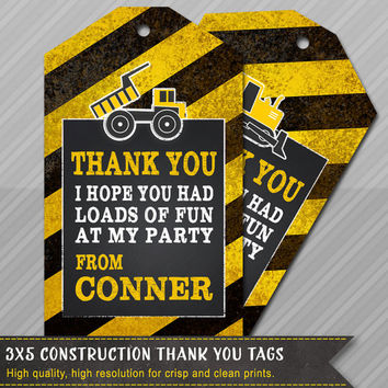 Construction Party Thank You Tags - Construction Party Gift Tags - Dump Truck - Chalkboard Construction