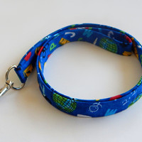 Teacher Lanyard / Elementary School / School Keychain / Learning / Globes / Stick Figures / Key Lanyard / ID Badge Holder / Fabric Lanyard