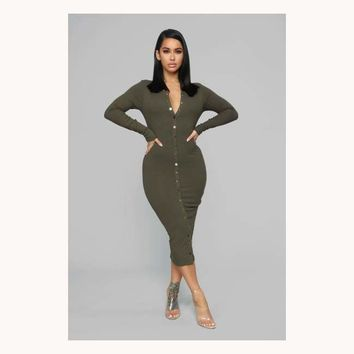 Sweet On You Midi Dress-Olive