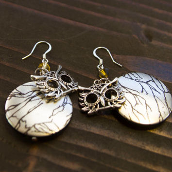Sterling silver owl dangle statement earrings