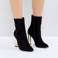 Truffle Collection Metallic Heeled Ankle Boot at asos.com