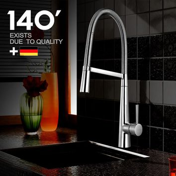 Spring Kitchen Faucet Swivel Spout Chrome Finish