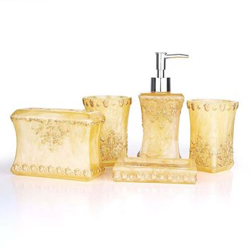Beautiful Pearl floral 5PCS Resin Bathroom Accessories Set Soap Dispenser/Toothbrush Holder/Tumbler/Soap Dish Gold