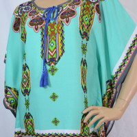Double Zero Peachpuff Collection- Bohemian Print Kaftan Top - Aqua