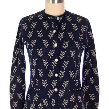 Vintage Cardigan Sweater Navy Wool Patterned Late 1940s Womens  M-L