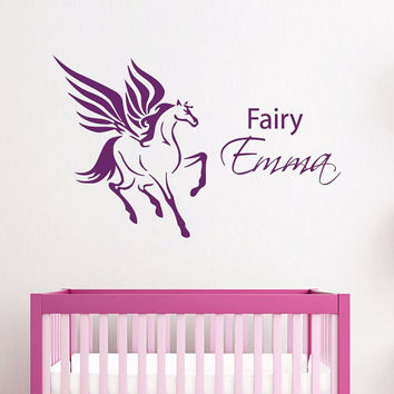 Wall Decals Vinyl Decal Sticker Interior Design Custom Girl Personalized Name Fairy Horse Unicorn Kids Nursery Baby Room Bedding Decor KT118