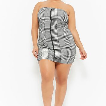 Plus Size Houndstooth Zip-Front Tube Dress