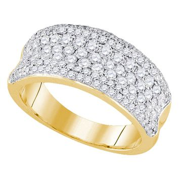 14k Yellow Gold Womens Round Diamond Pave Wedding Anniversary Band Ring 1-1/3 Cttw
