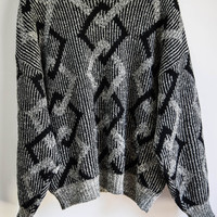 Vintage Mens 90s Gray Black Geometric Sweater Retro Jumper Womens Slouchy Grunge