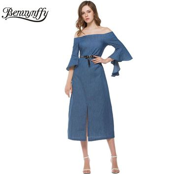Summer Dress Women Denim Vertical Striped Long Dress Off Shoulder Half Petal Sleeve Tunic Casual Dress with Belt
