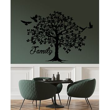 Vinyl Wall Decal Forest Family Tree Leaves Birds Nature Stickers (3197ig)