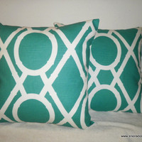 Decorative-Accent- Set of Two -Throw Pillow Covers-Free US Shipping-18 inch Teal and White Geometric Lattice