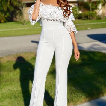 Hailey White Off Shoulder Flower Ruffled Sleeve Palazzo Jumpsuit