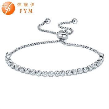 FYM Brand Party Jewelry Adjustable Bracelet For Women Round Clear AAA Cubic Zirconia Charm Friendship Blacelets & Bangles Gift