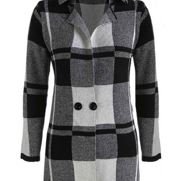 Plaid Convertible Collar Long Sleeve Knit Cardigan Coat