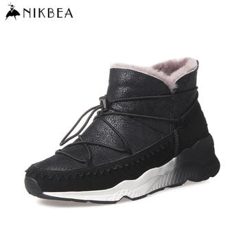 NIKBEA Sheepskin Fur Snow Boots Women Winter Boots 2016 Genuine Leather Casual Platform Boots Wedge Warm Snowboots Ankle Shoes