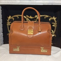 Vtg GUCCI Cognac Leather Travel Carry On Jewelry Case Mallette Bag Satchel Rare
