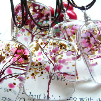 Tree of Life Fused Glass Pendant Cherry Blossoms A by KarmaBeads